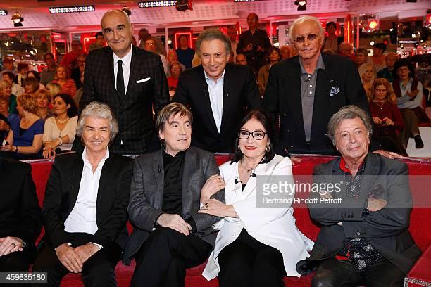 Pascal Negre Michel Drucker Jacques Revaux Daniel Guichard Serge Lama Nana Mouskouri and Herve Vilard attend the 'Vivement Dimanche' French TV Show...
