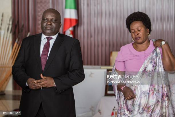 Pascal Nyabenda the President of National Assembly of Burundi poses with his wife at the state house as Burundi mourns the death of Burundian...