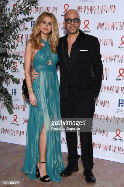 Pascal Obispo and his wife Julie attend the 16th Sidaction as part of Paris Fashion Week on January 25 2018 in Paris France