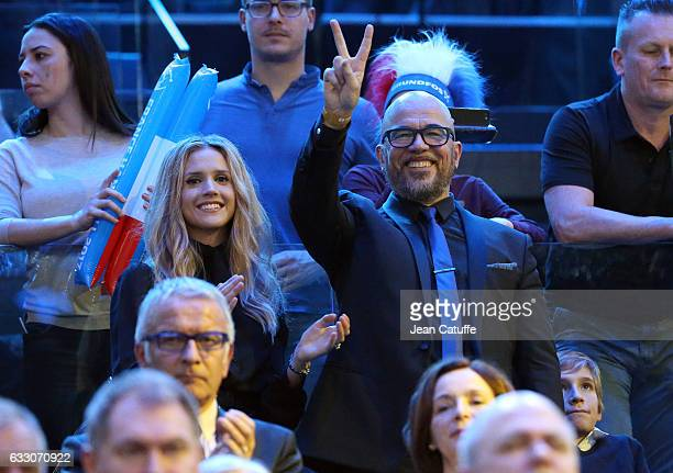 Pascal Obispo and his wife Julie Hantson attend the 25th IHF Men's World Championship 2017 Final between France and Norway at Accorhotels Arena on...