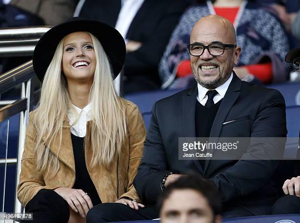 Pascal Obispo and his wife Julie Hantson attend the French Ligue 1 match between Paris SaintGermain and Toulouse FC at Parc des Princes stadium on...