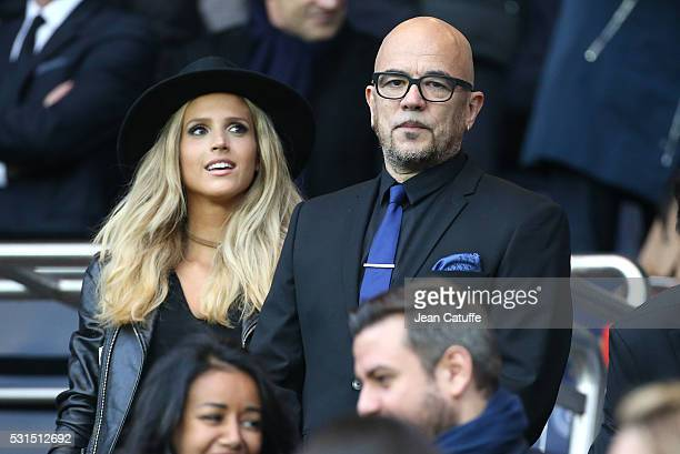 Pascal Obispo and his wife Julie Hantson attend the French Ligue 1 match between Paris SaintGermain and FC Nantes at Parc des Princes stadium on May...