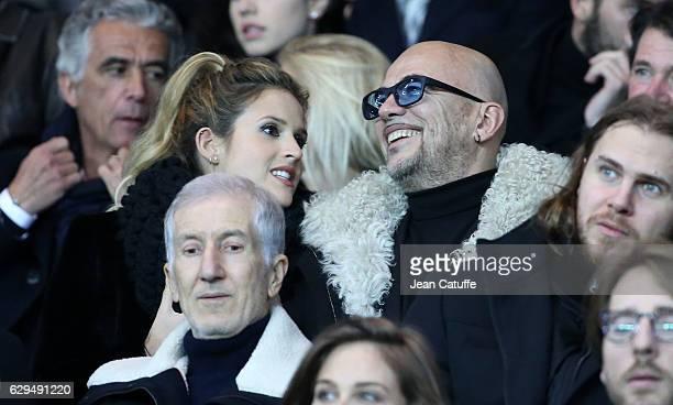 Pascal Obispo and his wife Julie Hantson attend the French Ligue 1 match between Paris Saint Germain and OGC Nice at Parc des Princes stadium on...