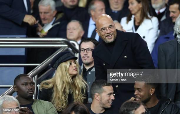 Pascal Obispo and his wife Julie Hantson attend the French Ligue 1 match between Paris Saint Germain and Olympique Lyonnais at Parc des Princes on...