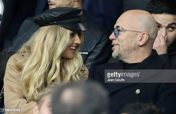 Pascal Obispo and his wife Julie Hantson attend the UEFA Champions League group A match between Paris SaintGermain and Club Brugge KV at Parc des...