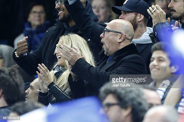 Pascal Obispo and his wife Julie Hantson celebrate the first goal of France during the international friendly match between France and Germany at...