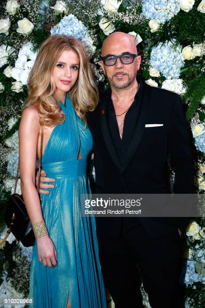 Pascal Obispo and his wife Julie Obispo attend the 16th Sidaction as part of Paris Fashion Week on January 25 2018 in Paris France