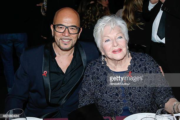 Pascal Obispo and Line Renaud attend the Sidaction Gala Dinner 2015 at Pavillon d'Armenonville on January 29 2015 in Paris France