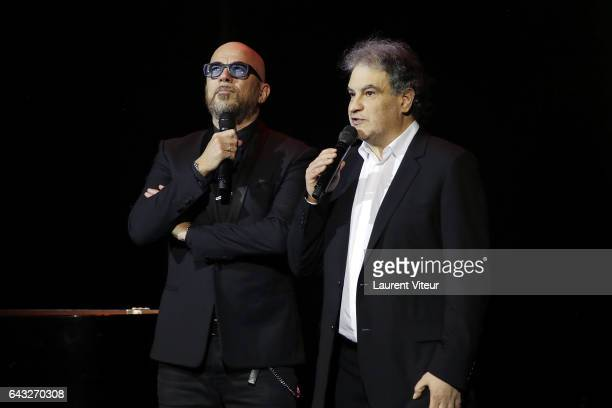 Pascal Obispo and Raphael Mezrahi attend 'La Nuit De La Deprime 2017' at Folies Bergeres on February 20 2017 in Paris France
