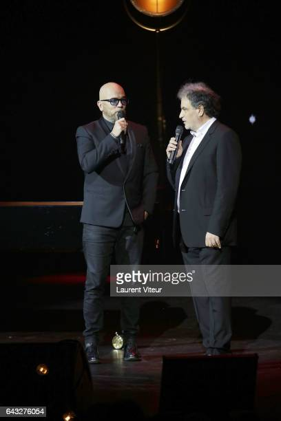 Pascal Obispo and Raphael Mezrahi attend 'La Nuit De La Deprime 2017' at Folies Bergeres on February 20 2017 in Paris France