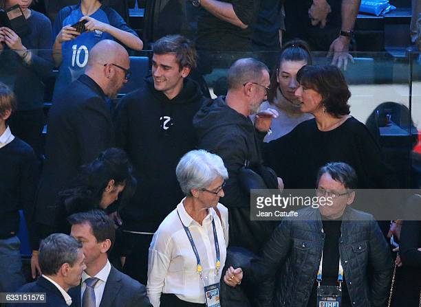 Pascal Obispo Antoine Griezmann his father Alain Griezmann Nathalie Iannetta attend the 25th IHF Men's World Championship 2017 Final between France...