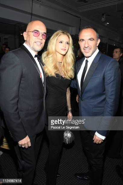 Pascal Obispo Julie Obispo and Nikos Aliagas attend the 17th 'Diner De La Mode' as part of Paris Fashion Week on January 24 2019 in Paris France