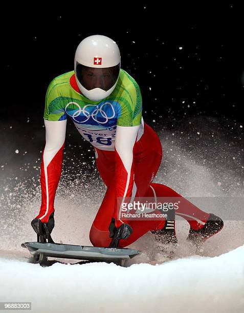 Pascal Oswald of Switzerland competes in the men's skeleton fourth heat on day 8 of the 2010 Vancouver Winter Olympics at the Whistler Sliding Centre...