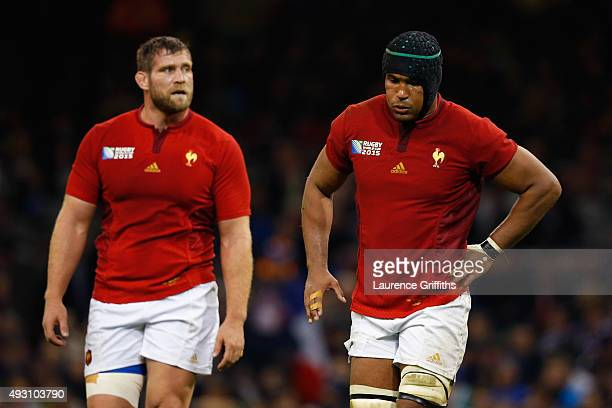 Pascal Pape of France and Thierry Dusautoir of France are dejected following a New Zealand try during the 2015 Rugby World Cup Quarter Final match...
