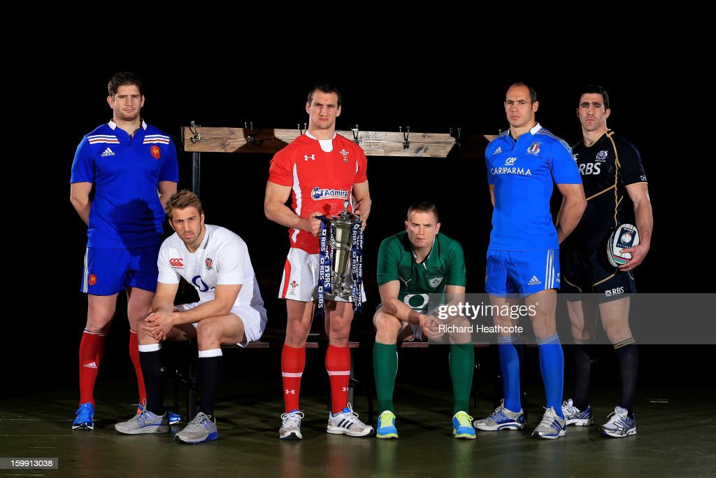 Pascal Pape of France, Chris Robshaw of England, Sam Warburton of Wales, Jamie Heaslip of Ireland, Sergio Parisse of Italy and Kelly Brown of Scotland pose with the Six Nations trophy during the RBS Six Nations launch at The Hurlingham Club on January 23, 2013 in London, England.