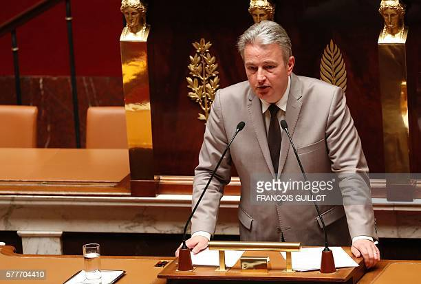 Pascal Popelin French MP from the Socialist group delivers a speech during a debate aiming at extending the country's state of emergency for a fourth...