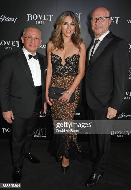 Pascal Raffy Elizabeth Hurley and Paul Haggis attend the BOVET 1822 Brilliant is Beautiful Gala benefitting Artists for Peace and Justice's Global...