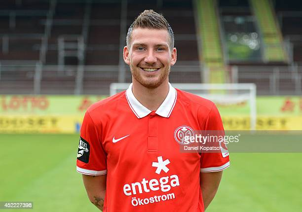 Pascal Reinhardt poses during the team presentation of 1 FSV Mainz 05 II at Bruchwegstadion on July 16 2014 in Mainz Germany