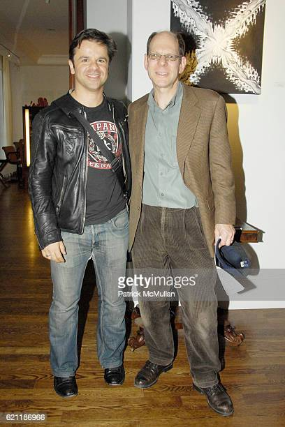 Pascal Sabattier and Richard Roth attend PHILIP PELUSI presents a CAROLINE BERGONZI exhibition at Arium Cafe at 31 Little West 12th on May 1 2008 in...