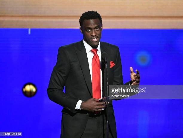 Pascal Siakam accepts the Kia NBA Most Improved Player Award onstage during the 2019 NBA Awards presented by Kia on TNT at Barker Hangar on June 24...
