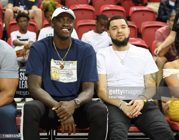 Pascal Siakam and Fred VanVleet of the Toronto Raptors attend a game between the Raptors and the Golden State Warriors during the 2019 NBA Summer...
