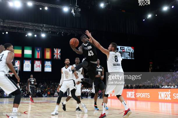 Pascal Siakam of Team Africa goes to the basket against Team World during the 2018 NBA Africa Game as part of the Basketball Without Borders Africa...