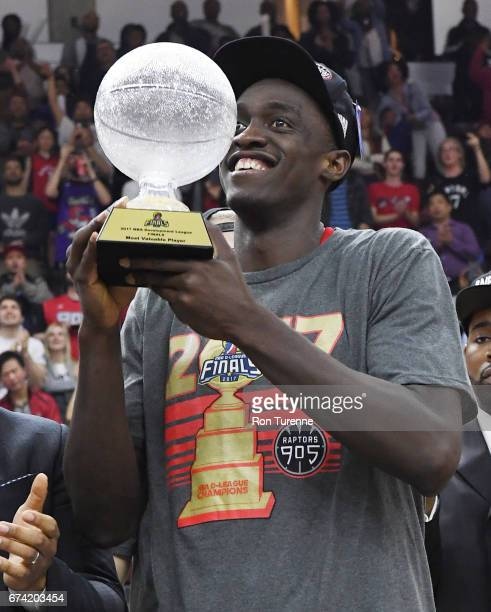 Pascal Siakam of the Raptors 905 holds the MVP trophy after they defeated the Rio Grande Valley Vipers in Game Three of the DLeague Finals to win the...
