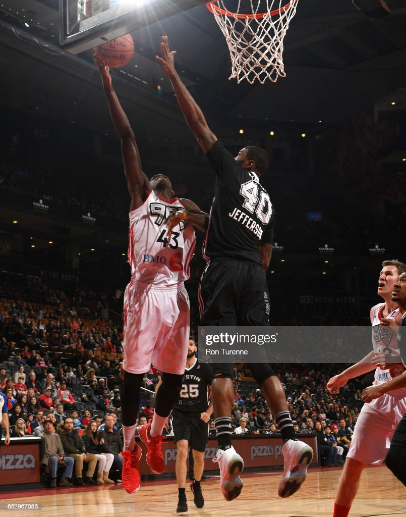 Pascal Siakam #43 of the Raptors 905 lays the ball to the basket against Cory Jefferson #40 of the Austin Spurs at the Air Canada Centre on March 13, 2017 in Toronto, Ontario, Canada.