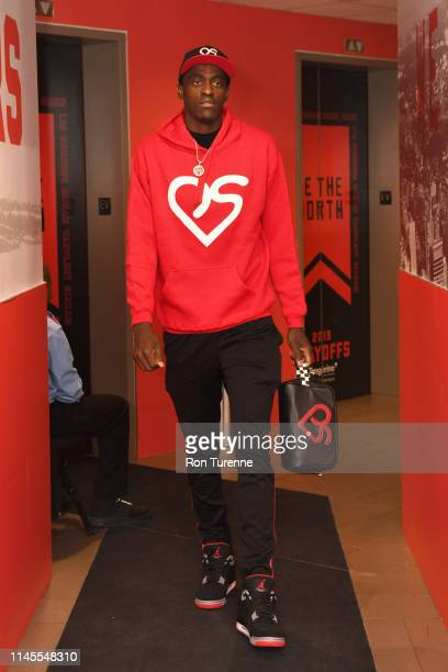 Pascal Siakam of the Toronto Raptors arrives at the arena before the game against the Milwaukee Bucks in Game Four of the Eastern Conference Finals...