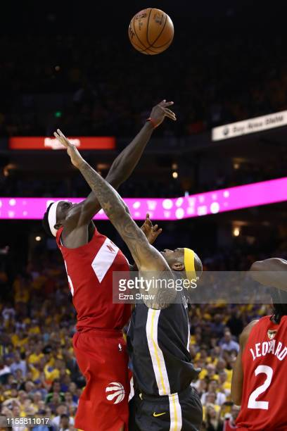 Pascal Siakam of the Toronto Raptors attempts a jump shot against DeMarcus Cousins of the Golden State Warriors in the second half during Game Six of...