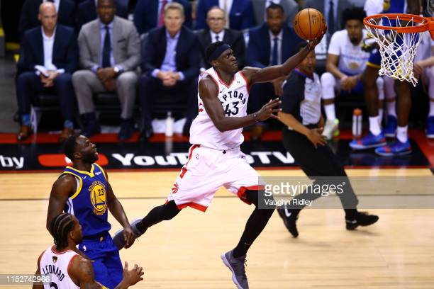 Pascal Siakam of the Toronto Raptors attempts a lay up against the Golden State Warriors in the third quarter during Game One of the 2019 NBA Finals...