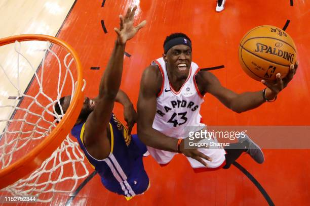 Pascal Siakam of the Toronto Raptors attempts a lay up against the Golden State Warriors in the first half during Game One of the 2019 NBA Finals at...