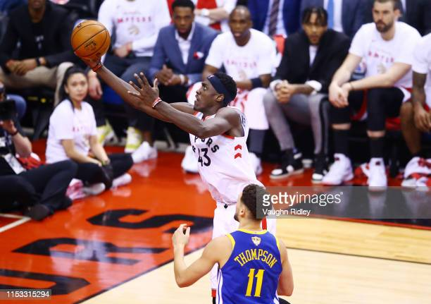 Pascal Siakam of the Toronto Raptors attempts a shot against Klay Thompson of the Golden State Warriors in the first half during Game Two of the 2019...