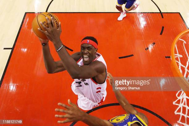 Pascal Siakam of the Toronto Raptors attempts a shot against the Golden State Warriors during Game Five of the 2019 NBA Finals at Scotiabank Arena on...
