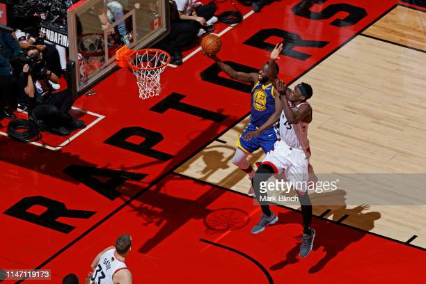 Pascal Siakam of the Toronto Raptors blocks the shot of Draymond Green of the Golden State Warriors during Game One of the NBA Finals on May 30, 2019...