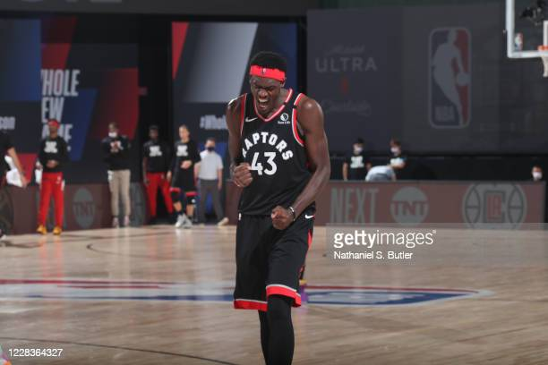 Pascal Siakam of the Toronto Raptors celebrates after the game against the Boston Celtics during Game Four of the Eastern Conference Semifinals on...