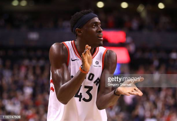 Pascal Siakam of the Toronto Raptors celebrates his teams lead against the Golden State Warriors in the fourth quarter during Game One of the 2019...