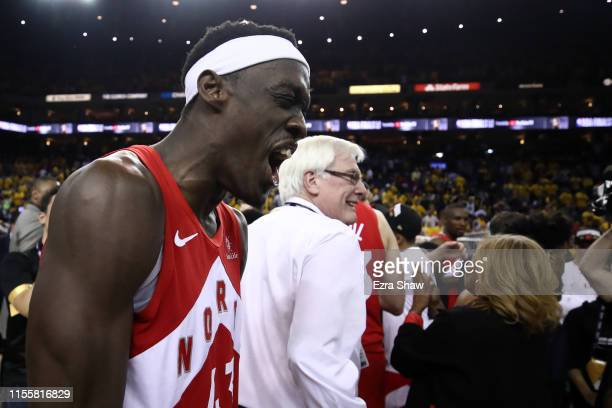 Pascal Siakam of the Toronto Raptors celebrates his teams win victory over the Golden State Warriors in Game Six to win the 2019 NBA Finals at ORACLE...