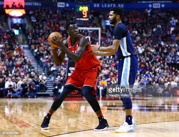 Pascal Siakam of the Toronto Raptors dribbles the ball as Andrew Harrison of the Memphis Grizzlies defends during the second half of an NBA game at...