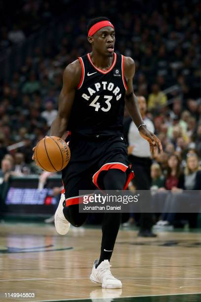 Pascal Siakam of the Toronto Raptors dribbles the ball in the second quarter against the Milwaukee Bucks during Game Two of the Eastern Conference...