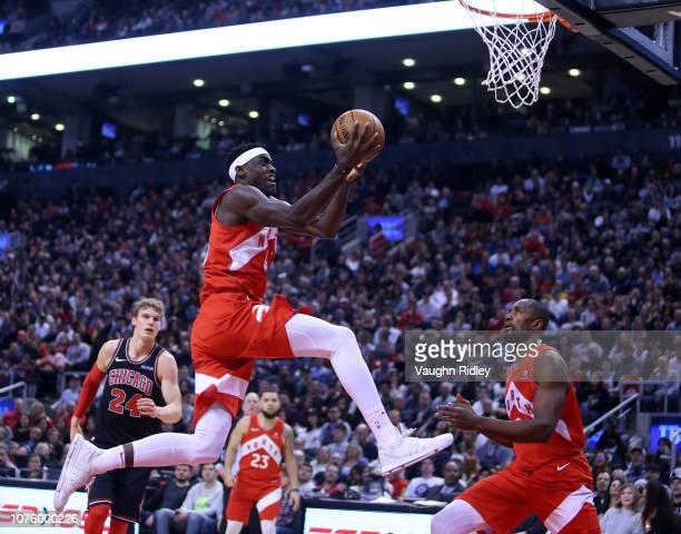 Pascal Siakam of the Toronto Raptors drives to the basket during the first half of an NBA game against the Chicago Bulls at Scotiabank Arena on...