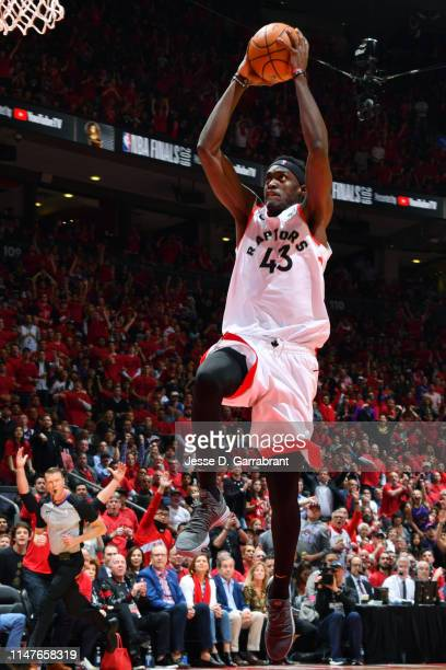 Pascal Siakam of the Toronto Raptors dunks the ball against the Golden State Warriors during Game Two of the NBA Finals on June 2 2019 at Scotiabank...