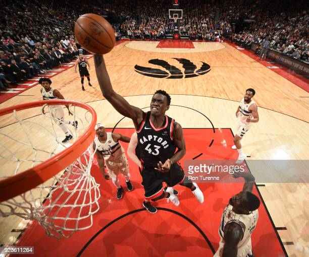 Pascal Siakam of the Toronto Raptors goes to the basket against the Milwaukee Bucks on February 23 2018 at the Air Canada Centre in Toronto Ontario...