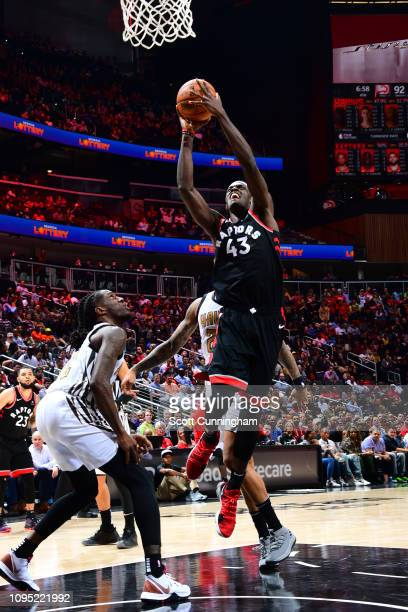Pascal Siakam of the Toronto Raptors goes up for dunk against the Atlanta Hawks on February 7 2019 at State Farm Arena in Atlanta Georgia NOTE TO...