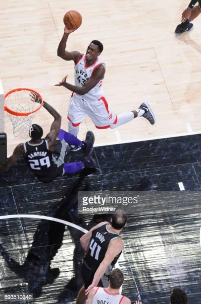 Pascal Siakam of the Toronto Raptors goes up for the shot against JaKarr Sampson of the Sacramento Kings on December 10 2017 at Golden 1 Center in...