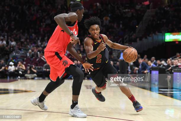 Pascal Siakam of the Toronto Raptors guards Collin Sexton of the Cleveland Cavaliers during the second half at Quicken Loans Arena on March 11 2019...