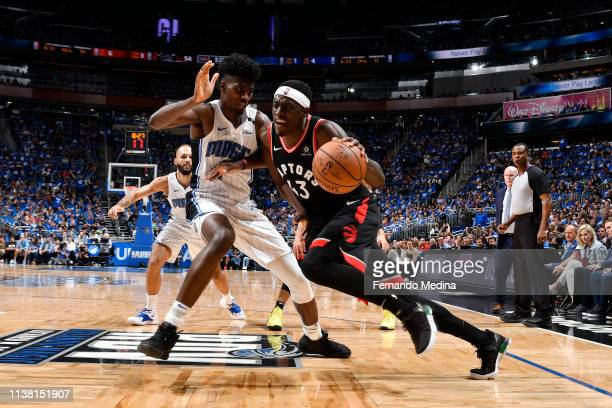 Pascal Siakam of the Toronto Raptors handles the ball against the Orlando Magic during Game Three of Round One of the 2019 NBA Playoffs on April 19...