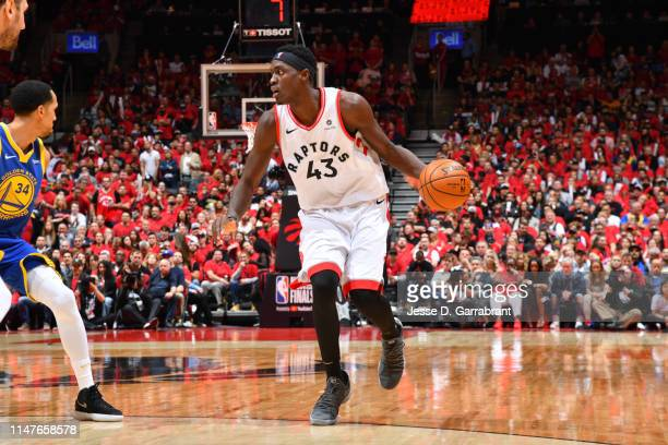 Pascal Siakam of the Toronto Raptors handles the ball against the Golden State Warriors during Game Two of the NBA Finals on June 2 2019 at...