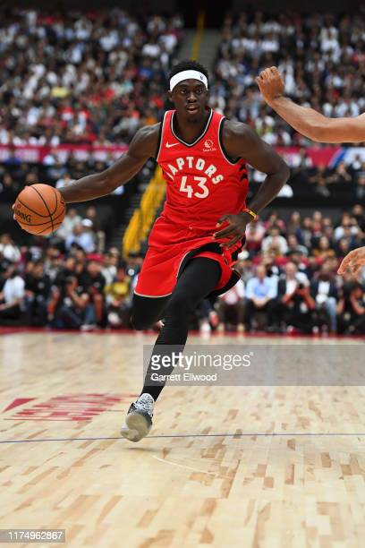 Pascal Siakam of the Toronto Raptors handles the ball against the Houston Rockets during the 2019 NBA Japan Game on October 10 2019 at Saitama Super...
