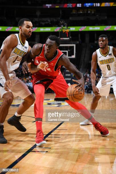 Pascal Siakam of the Toronto Raptors handles the ball against the Denver Nuggets on November 1 2017 at the Pepsi Center in Denver Colorado NOTE TO...